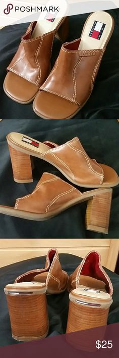 Tommy hilfiger shoes Tan, Leather, 3.5 inch heel shoes from Tommy hilfiger. Leather very good condition only marks on shoe is on heel as shown in 3rd photo. Tommy hilfiger  Shoes Mules & Clogs