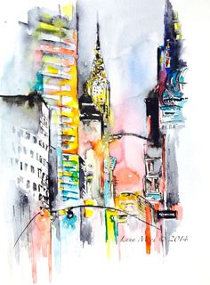 "illustrationsforinstance:  ""New York City Inspired Print from Original Abstract Watercolor Painting - Contemporary Home Decor - Wanderlust Illustration by Lana Moes  """
