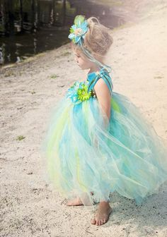 Couture Ocean Princess Tutu Dress, Headband & Bracelet Set<br>12 Months to 12 Years<br>Perfect for Halloween, Beach Portraits & Mermaid Birthdays!