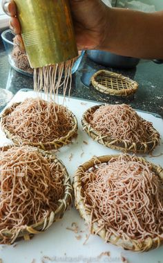 String hoppers, made with red rice--a healthy base for Sri Lankan curries
