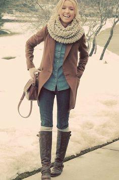 brown jacket, chambray shirt, scarf, boots (: I need boot socks!
