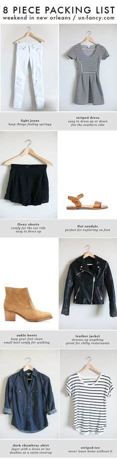 packing list: weekend in new orleans // what to pack // how to pack light // 8 piece packing list