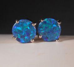 Blue Fire Opal Stud Earrings Natural Blue Opal Earrings Blue Opal Studs Blue Opal Earrings Opal Stud Earrings October Birthstone Jewelry by MysticMountainJewels on Etsy