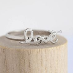 $11.50 - Silver LOVE Ring, Friendship Ringband, Lettering Jewelry, Adjustable