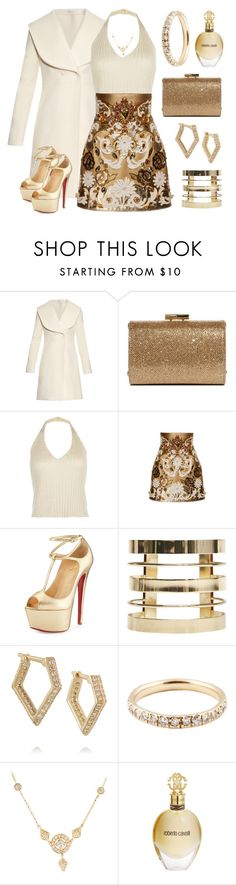 """""""Gold Fever!"""" by boxthoughts ❤ liked on Polyvore featuring J.W. Anderson, Jimmy Choo, Dolce&Gabbana, Christian Louboutin, Wet Seal, Wendy Nichol, Hammerman and Roberto Cavalli"""