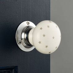 A Pair white and grey stars ceramic Mortice Internal Turning Interior door knobs by PushkaHome on Etsy https://www.etsy.com/listing/219127877/a-pair-white-and-grey-stars-ceramic