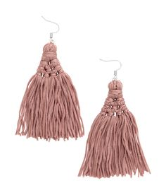 Metal earrings with large cord tassels. Length 4 in.  | H&M Pastels