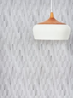 Vox Sound as wall paneling, styled with Kate Stokes Coco Flip Pendant for Workshopped.