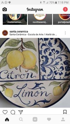 Platos en cerámica Pottery Painting, Ceramic Painting, Ceramic Art, Personalized Housewarming Gifts, China Clay, Kitchen Artwork, Italian Pottery, China Painting, Ceramic Design