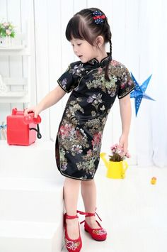2017 New Summer Floral Baby Qipao Girls' Dresses Kid Chinese chi-pao cheongsam New Year gift Children's Clothes Robe