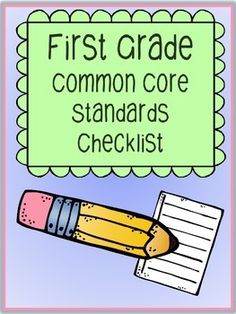 "Free First Grade Common Core Checklist... Follow for Free ""too-neat-not to-keep"" teaching tools & other fun stuff :)"