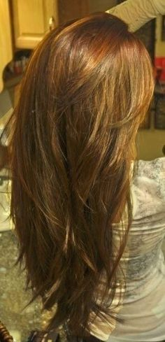 Long Light-Golden-Brown Hair with Long Layers and Angled V Shape