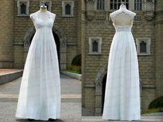 Lace wedding dress,can sleeve wedding dress,ivory/white wedding gowns,bridal dres,handmade chiffon bridal dress    Rush order link :