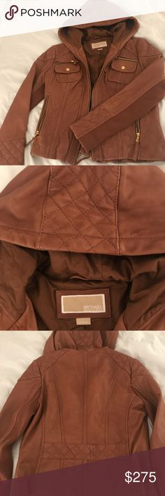Michael Kors leather jacket Michael Kors leather jacket. Size Large. Beautiful quilted patterns & gold hardware, chestnut colored leather. Hard to find a leather coat with a hood. The leather is buttery soft, excellent condition! Michael Kors Jackets & Coats