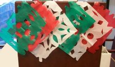 Colorful Cinco de Mayo party craft for kids. Craft supplies you will need: Tissue paper (green, white and red) Scissors Laundy clips String Craft instructions: Cut like you would to make a paper snowflake Spanish Lessons For Kids, Learning Spanish For Kids, Preschool Spanish, Art For Kids, Crafts For Kids, Arts And Crafts, Decor Crafts, Diy Crafts, Cultural Crafts