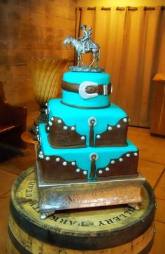 Two separate brides requested the same cake design. I love the turquoise and chocolate brown together. The silver fondant details along wi...