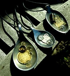 Steampunk Spoon Necklaces with watch parts, gears & found objects in resin.