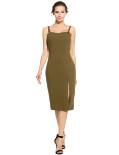 Black Elegant Dual Strap Front Button Side Slit Solid Pencil Dress