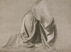 "Leonardo da Vinci, 1452-1519, Italian, Drapery study for the kneeling angel of the ""Annuncuiation""?), c.1472-75 (?). Brush and grey tempera, with white hightening, on grey prepared canvas, 20.6 x 28.1 cm. Musée du Louvre, Paris. High Renaissance."
