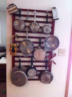 Crib rail repurpose, pot rack
