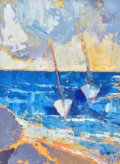 Sailboats I Oil on Board 10 x 26 cm  #Art #Paintings #Seascape