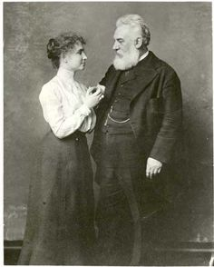Gilded Age American inventor, Alexander Graham Bell, photographed with, Helen Adams Keller. The Keller family enlisted the aid of Bell, to help their daughter Helen. Bell connected the Keller family with the Perkins Institute, through which Helen Keller met her teacher Anne Sullivan.
