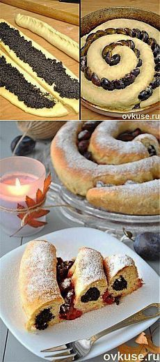 Rich spiral prunes and poppy pie - Simple recipes of Овкусе. Russian Desserts, Russian Recipes, Sweet Recipes, Cake Recipes, Baking Recipes, Simple Recipes, Sandwich Torte, Bread Shaping, Occasion Cakes