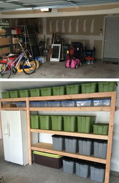 Garage Bins and shelves