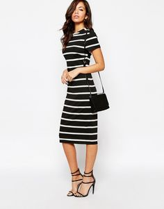 Image 4 of New Look Stripe Body-Conscious Dress