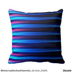 Abstract multicolored linework, neon tones pillows