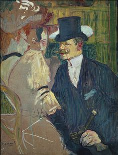 'The Englishman (William Tom Warrener at the Moulin Rouge' 1892 Henri de Toulouse-Lautrec. Oil on cardboard: x 26 in. x 66 cm) The Metropolitan Museum of Art, New York. Henri De Toulouse Lautrec, Manet, Renoir, The Englishman, Edgar Degas, Post Impressionism, Le Moulin, Claude Monet, Famous Artists