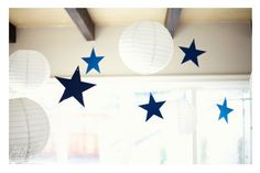 rocket to the moon blue green baby shower paper lantern moons and paper stars