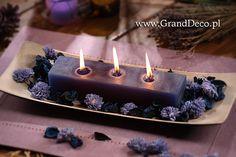 Potrójna świeca zapachowa w aranżacji z kwiatkami sola.