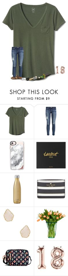 """•hoco•"" by mackenzielacy814 on Polyvore featuring Gap, AG Adriano Goldschmied, Casetify, tarte, West Elm, Kate Spade, Kendra Scott, Vera Bradley and Birkenstock"