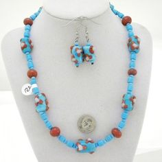 Necklace with Earrings -  9  of Toms Lampwork Glass Beads
