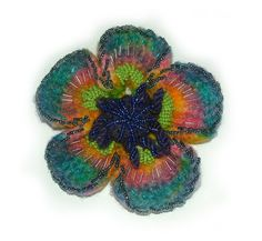https://flic.kr/p/8LZiL6 | poppy blue rainbow | beaded felted crochet flower brooch