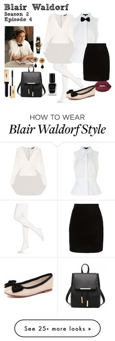 """Blair Waldorf - Gossip Girl - Season 2 Episode 4"" by deathcab4kuz on Polyvore featuring Hue, Balmain, Alexander Wang, Lime Crime, Thierry Mugler, Human Premium, Barry M, Dolce&Gabbana and Versace"