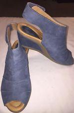 122b4c0226df Earth Coriander Women s Leather Wedge Peep Toe Comfort Sandals Moroccan  Blue 7B