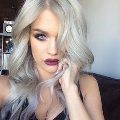 The Grey Hair Trend Is Huge For Spring Summer 2015, I kinda like this but I would do more of a Purple on the tips!!
