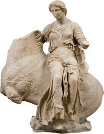 Marble statue of a Nereid or Aura on horseback, from the temple of Asklepios at Epidauros, Peloponnese                                                    ca. 380 BC.