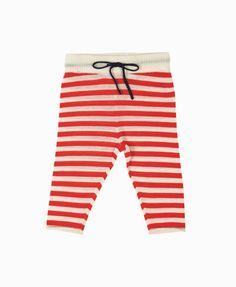 FUB stribede baby bukser - ecru/rød