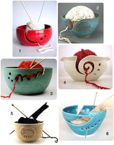 yarn bowls, pretty cool bowls. You could also use a colandar from the dollar store. Anything that has holes in it and deep enough to hold your ball of yarn.                                                                                                                                                                                 More