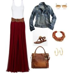 Red skirt, denim jacket and brown accessories. Great casual look for fall.