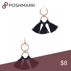 """Trendy Blue Tassel Earrings On trend double ring tassel earrings.  🚫 No trades.  Price is firm unless bundled.  Gold Tone 