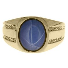 Oval-Cut Star Sapphire and Diamond Men's Ring In Yellow Gold Available Exclusively at Gemologica.com