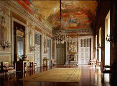 Gallery with painted ceiling and Empire furnishings