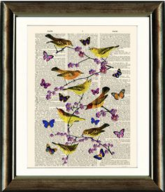 Antique Book page Art Print - Vintage Birds Butterflies Dictionary page Wall Art Book Page Art, Old Book Pages, Vintage Birds, Vintage Images, Antique Books, Unique Art, Art Pieces, Butterfly, Ink