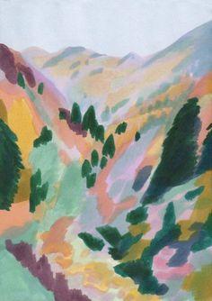 Les Pyrénées en Automne Nature Illustration, Landscape Illustration, Graphic Illustration, Art Inspo, Painting Inspiration, Bunny Drawing, Bear Art, Seascape Paintings, Painting & Drawing