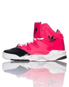 buy online 80ea5 219f2 adidas Women s high top sneaker Patent leather toe and heel Front lace up  closure Triangle and splatter pattern detail Rubber sole for traction