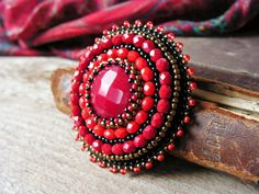 Red Beadwork Brooch Bead embroidery Brooch by MisPearlBerry
